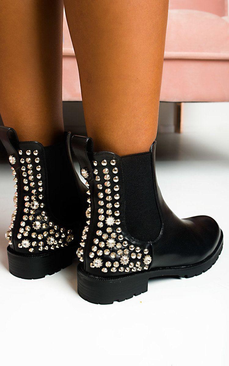 IKRUSH Womens Simone Embellished Ankle Boots