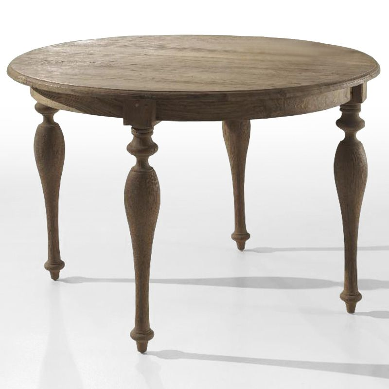 Antique Turning Legs Round Table Reclaimed Wood