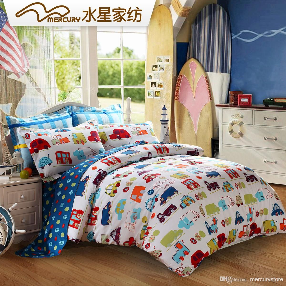 Mercury Home Textile 100%cotton Printed Bedding Sets With Duvet Cover Bed  Sheet King/Queen/Twin Size Cartoon Car World