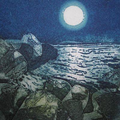 "Sarah Ross Thompson - ""Moonshine"" (collagraph)"