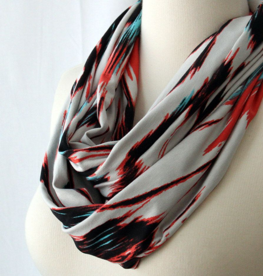 Infinity Scarf Tribal Ikat - Coral, Blue, Black and Sand.