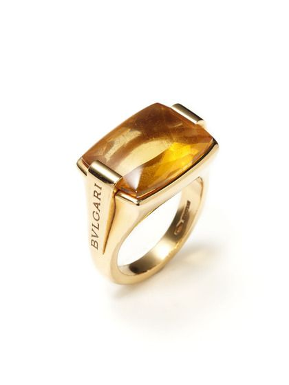 Bulgari Gold & Citrine Rectangle Ring by Bulgari at Gilt