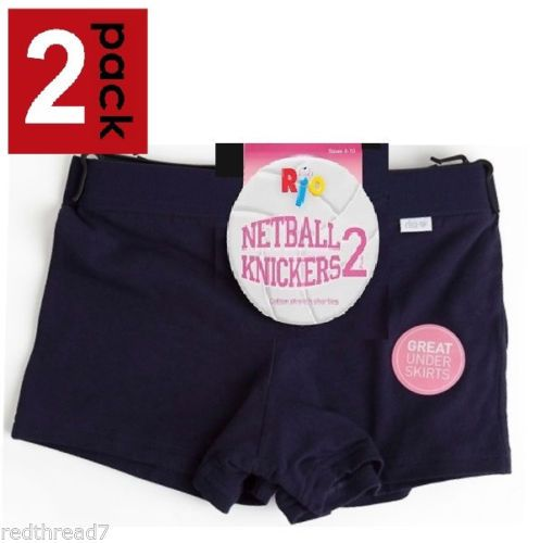 Gym knickers size 14 sports pants netball briefs stretchy cotton Navy Blue