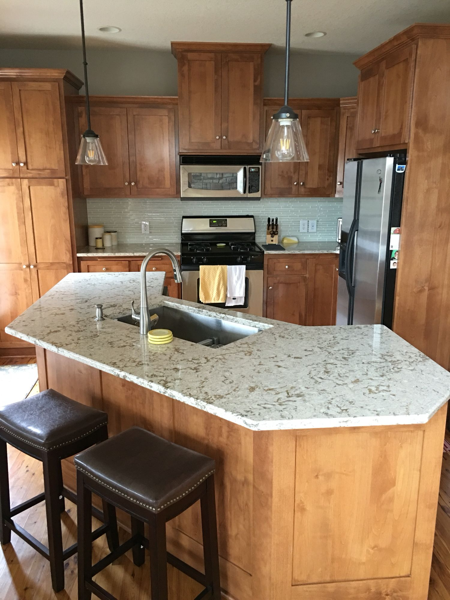 My updated kitchen! Cambria Windermere countertops, glass