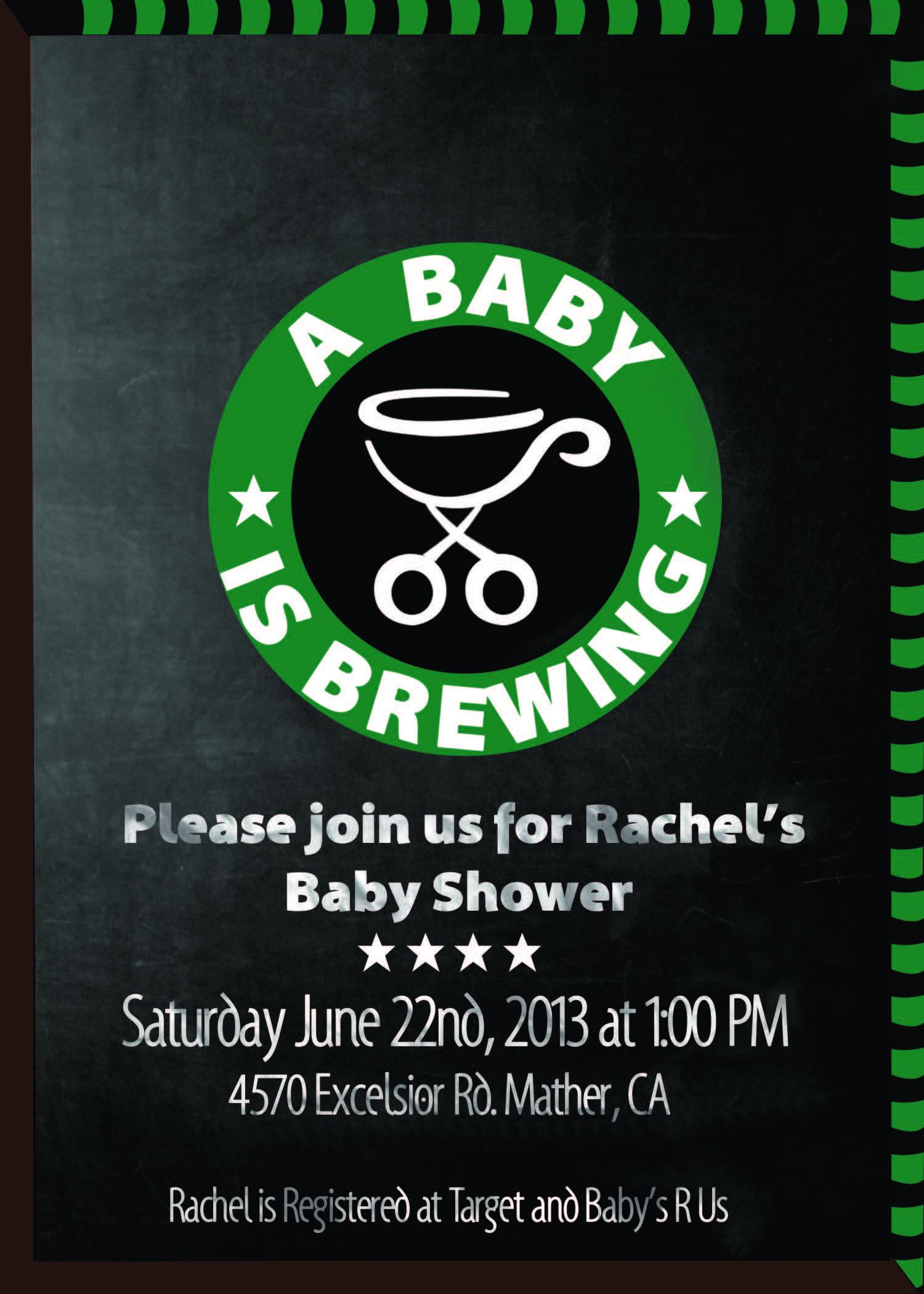 Baby shower invitation starbucks theme rainbow baby