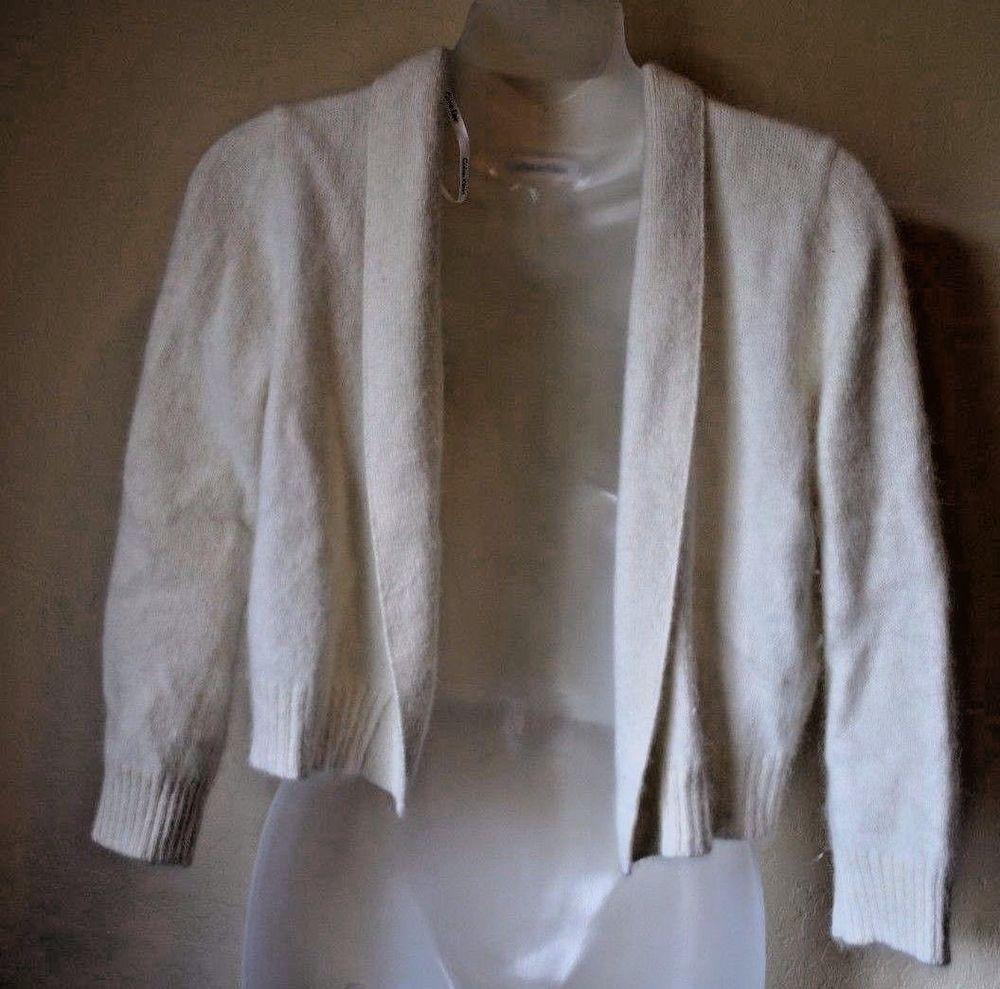 Calvin Klein 76% Angora Rabbit Fur Cardigan White Sweater Women's ...