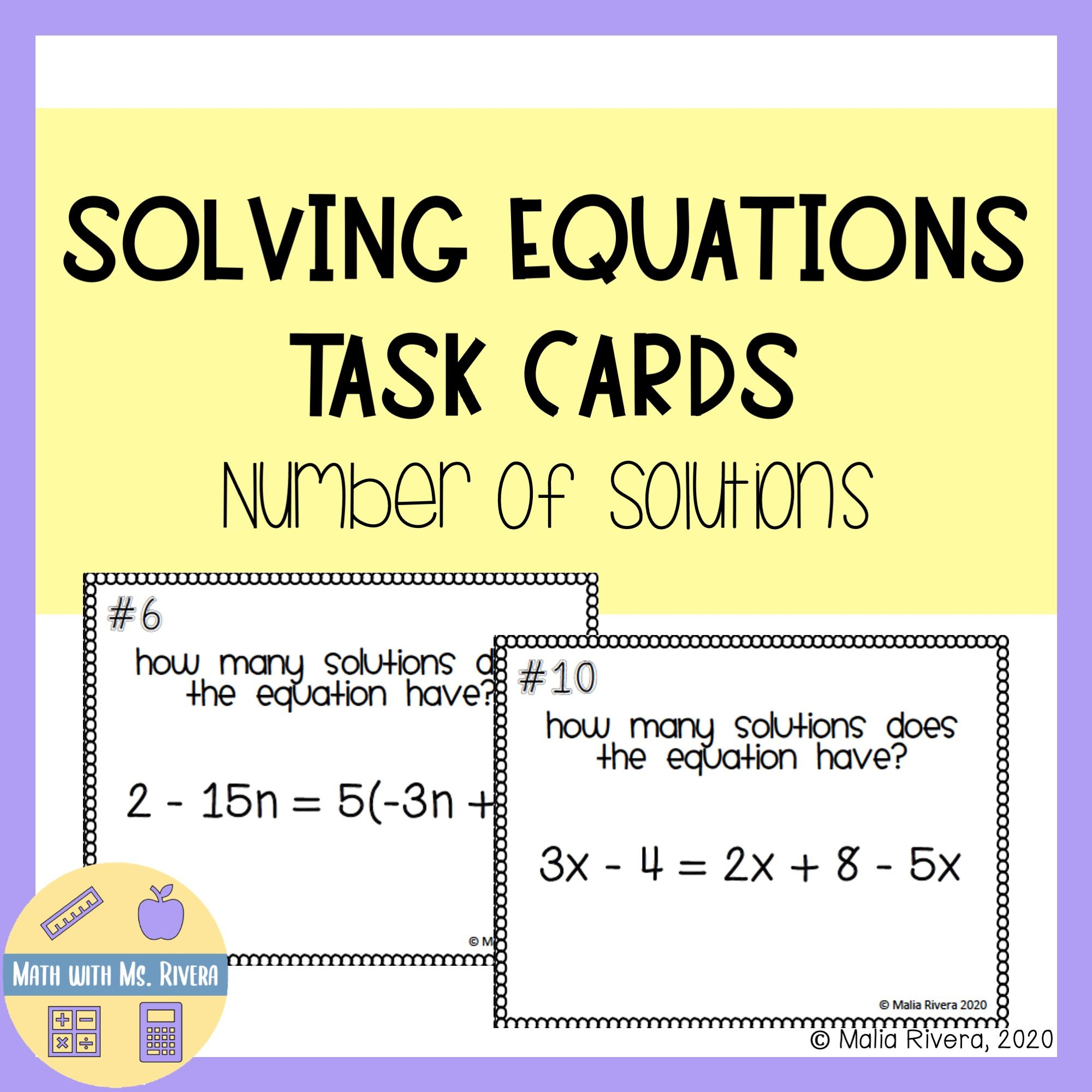 Number Of Solutions Solving Equations Task Cards In