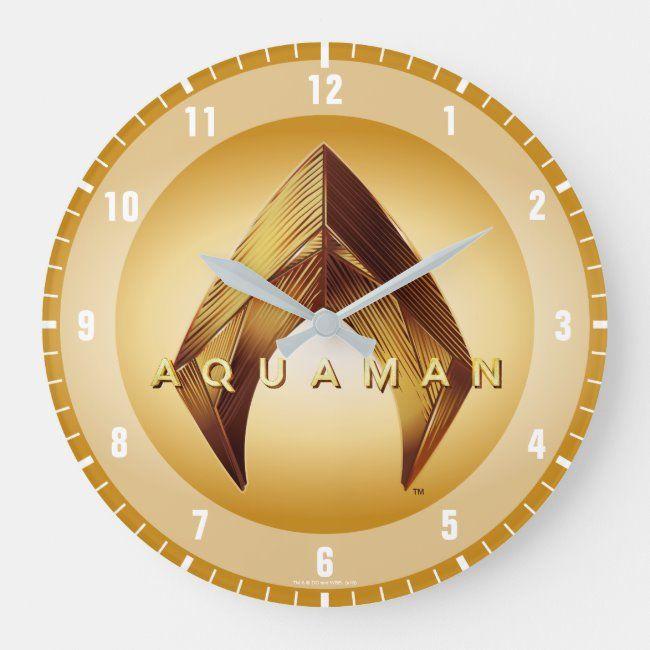 Aquaman  Golden Aquaman Logo Large Clock ,