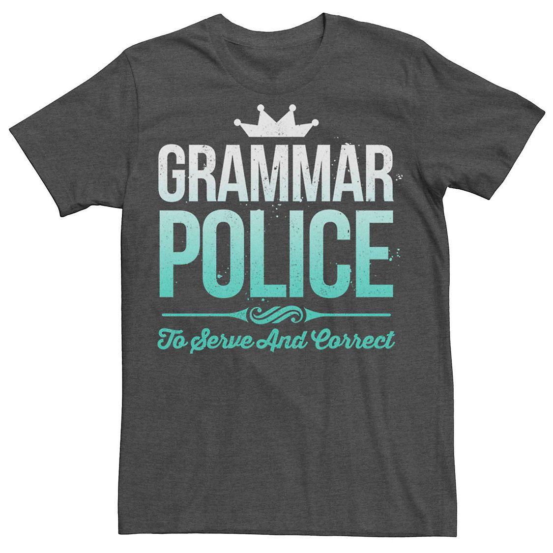 Men's Grammar Police Humor Graphic Tee