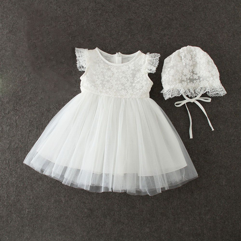 Click to Buy << summer baby girl dresses with cap white lace
