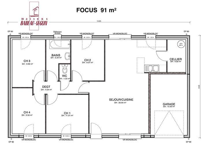 mod le de plain pied construit sur vide sanitaire 0 60 avec cuisine ouverte sur le salon s jour. Black Bedroom Furniture Sets. Home Design Ideas