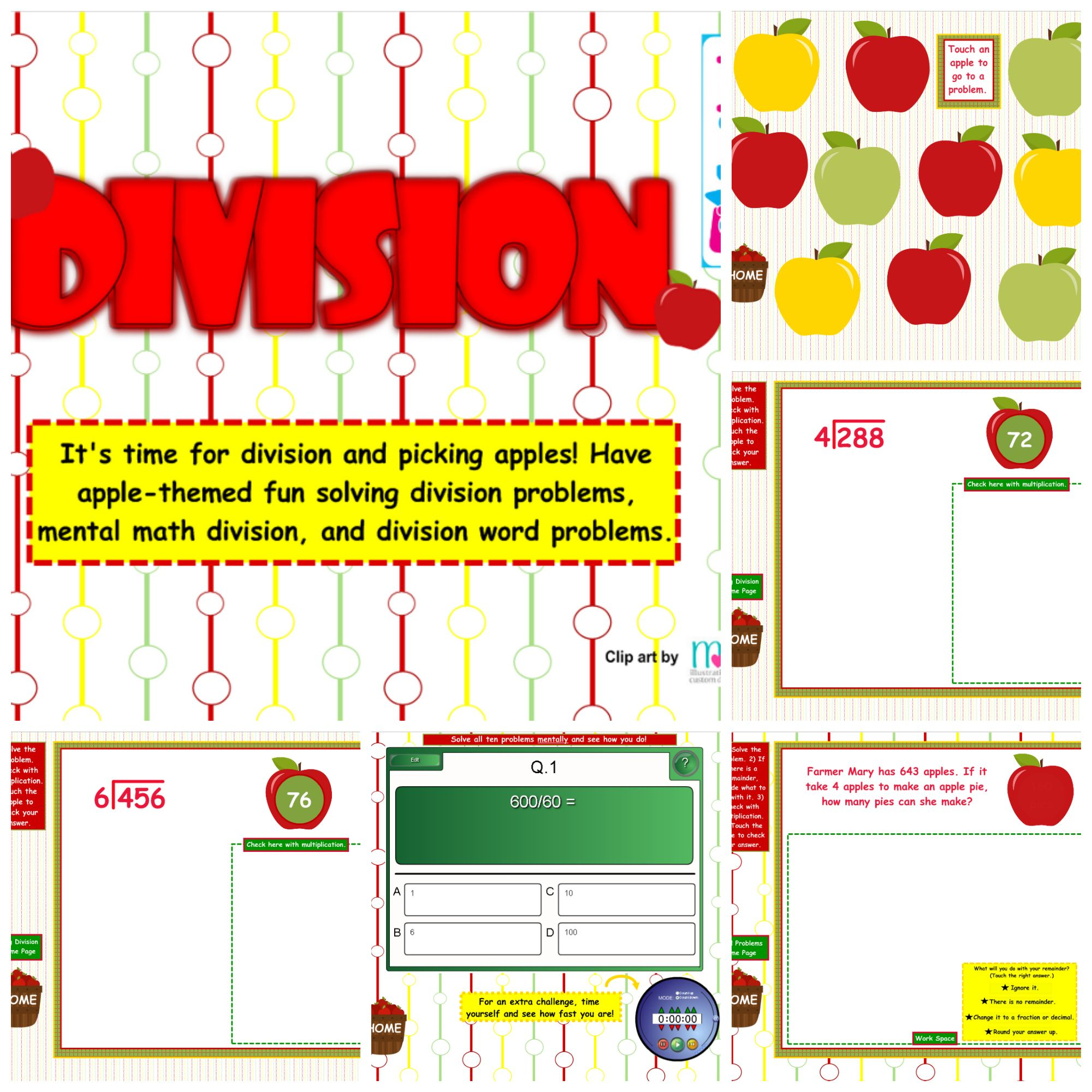 Division Problems Smart Board Games