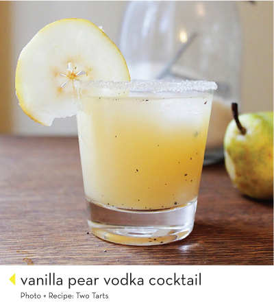 vanilla, pear and vodka! sounds like the perfect fall cocktail. I wonder if this would taste anything like the smoked pear margarita I had in vegas before tana's wedding!? That was the best.drink.ever.