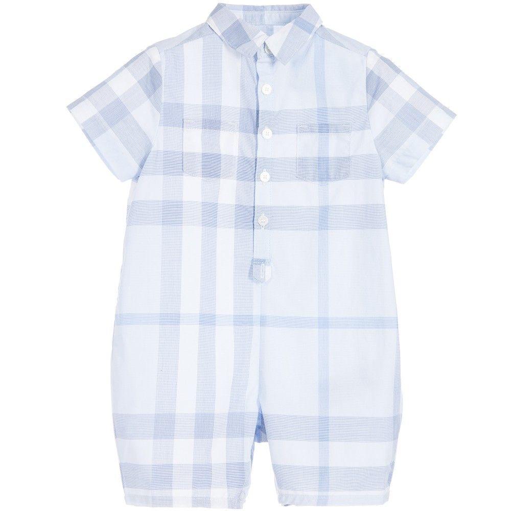469a88af6b457 BURBERRY Baby Boys Blue Check Cotton Shortie