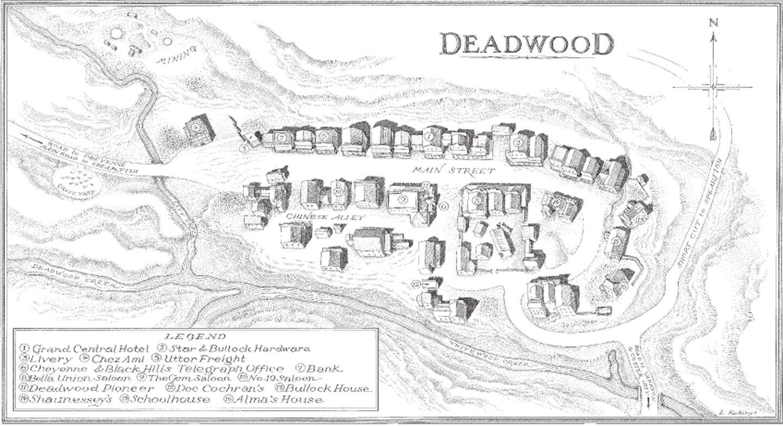Deadwood Hotel Map on