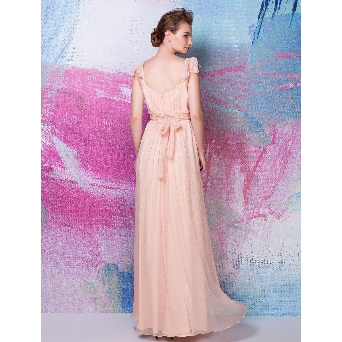 Sheath/Column Square Floor-length Silk Bridesmaid Dress | My Fashion ...