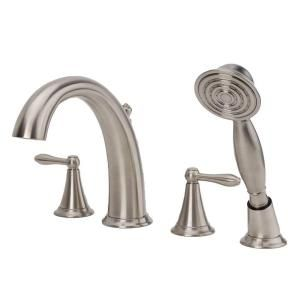 Fontaine, Montbeliard 2-Handle Deck Mount Roman Tub Faucet with Hand Shower in Brushed Nickel, BRN-MBDRT-BN at The Home Depot - Mobile