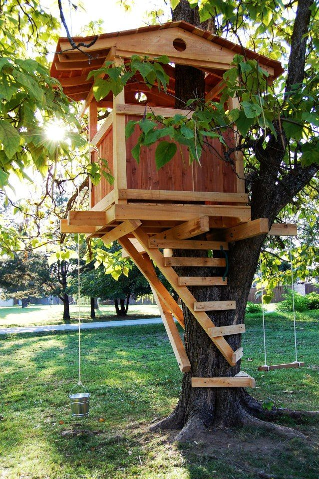 Nice treehouse. Built wrong with lag bolts. Should of used ...