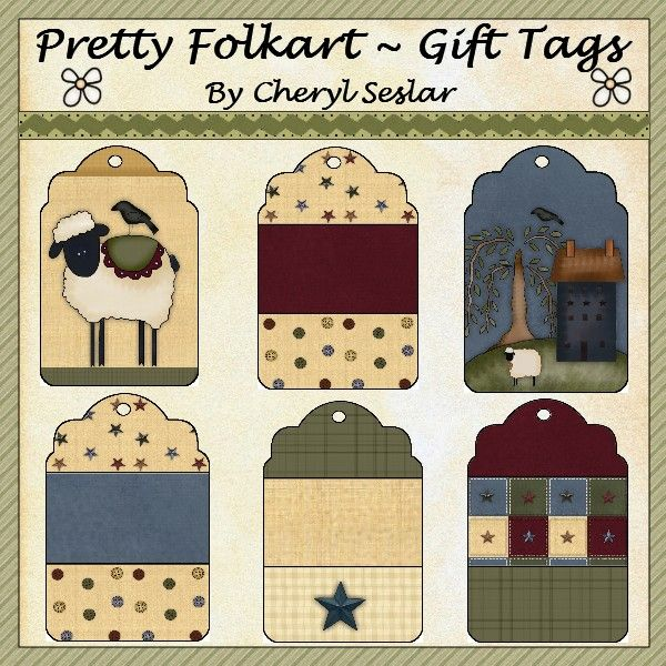 Pretty Folkart Gift Tags *pbc-GT (YOU CAN PURCHASE)