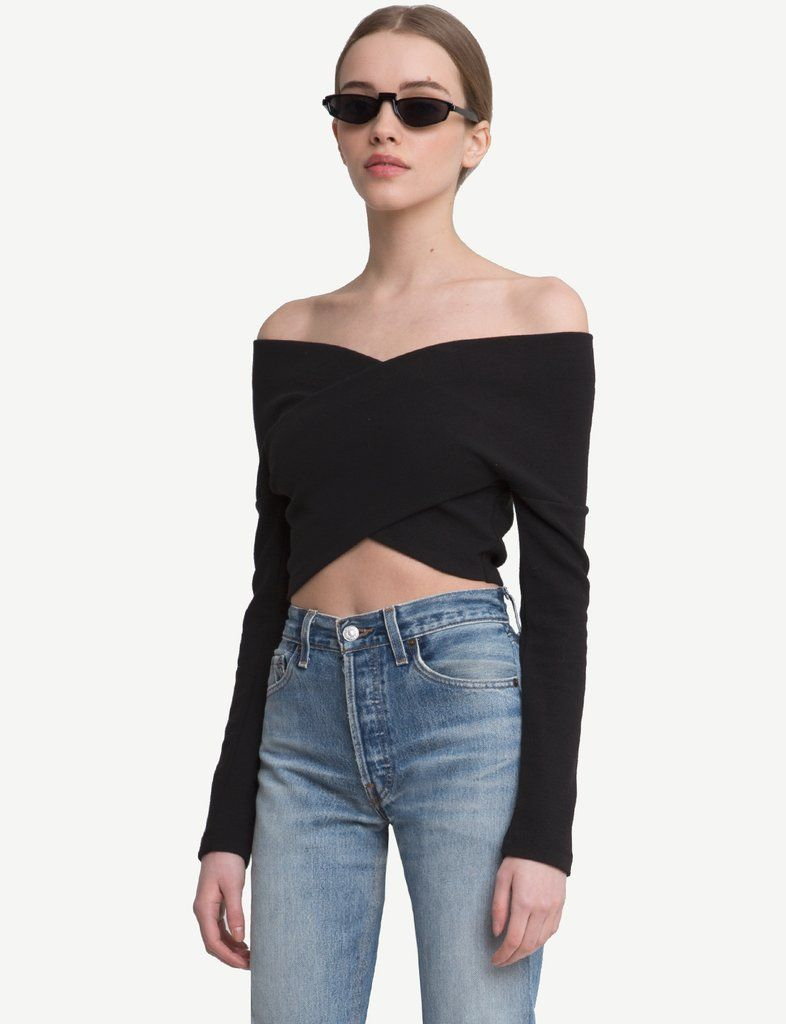 9703678ae44e Black Wrap OffThe Shoulder Crop Top -15% OFF   New Arrivals in 2019 ...