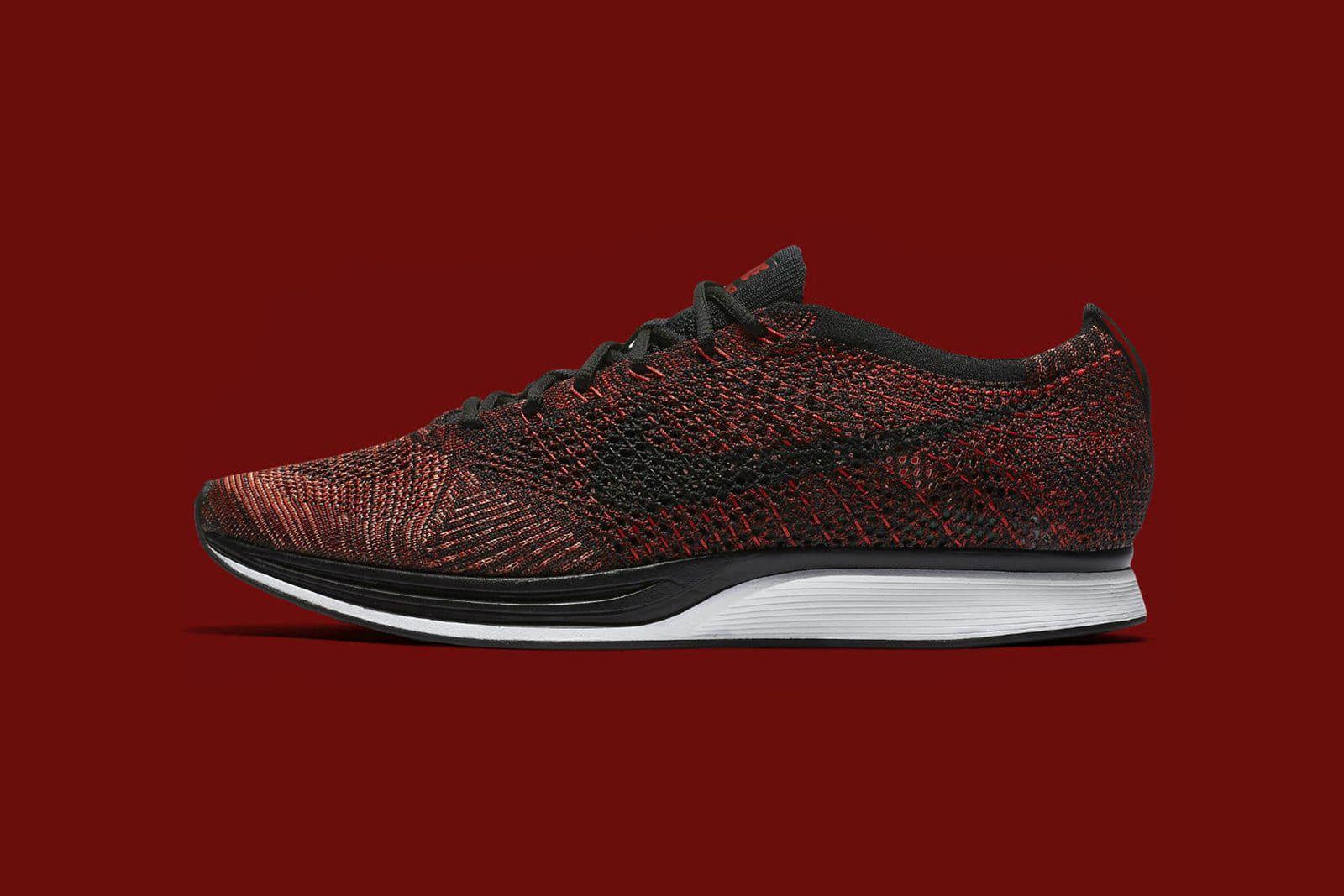 new product 6a56d b9009 Nike Flyknit Racer University Red Black Bright Mango