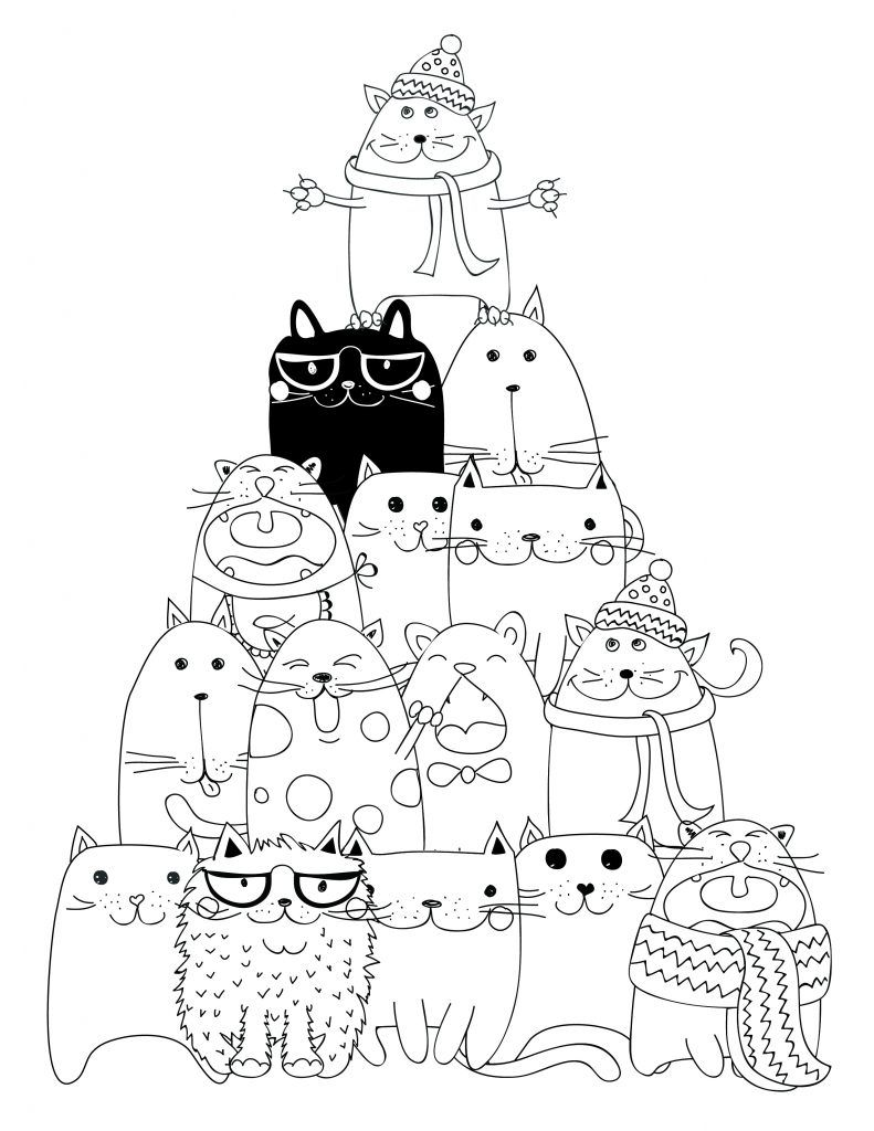 Dessin imprimer pyramide chat coloriage coloriage divers diverse colouring cat coloring - Chat a colorier adulte ...