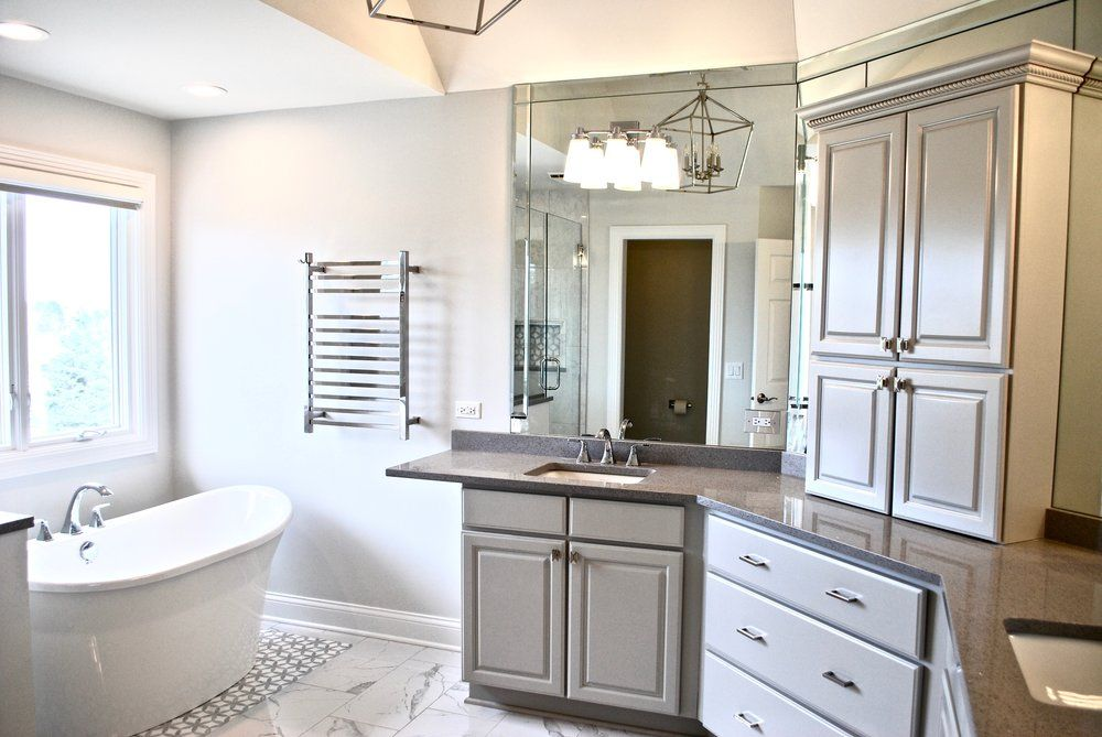 GENEVA IL. PAINTED CABINETS IN BATHROOM AND FREESTANDING ...