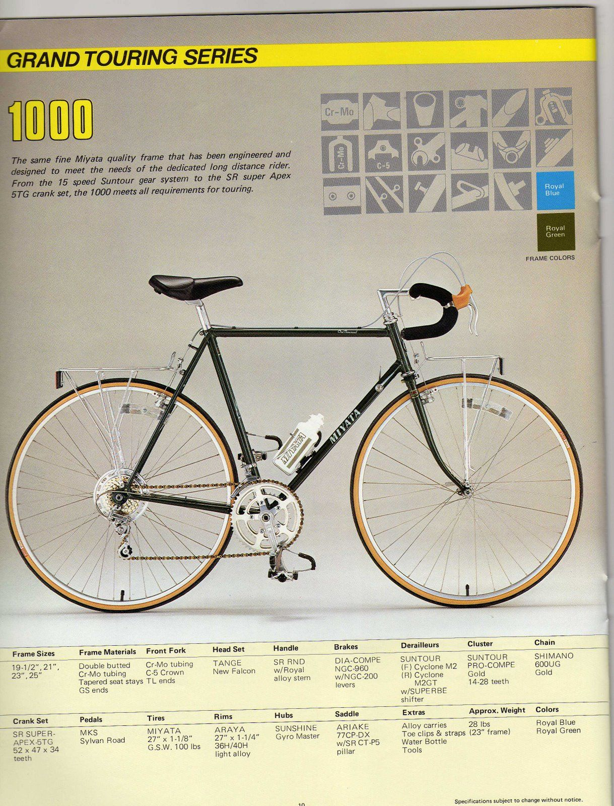 4e39c0cc947 Miyata 1000, Grand Touring Catalog '83 Hot Bikes, Road Bike, Touring,