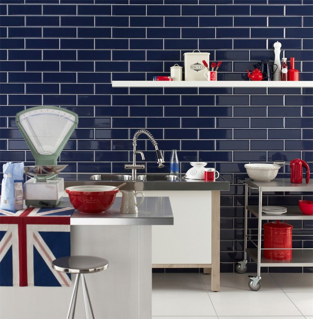navy bevelled brick tiles in kitchen - Google Search | Dům ...