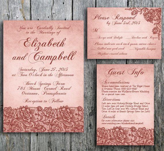 Cheap Shabby Chic Wedding Invitations: Shabby Chic Wedding Invitation, Rsvp, And Guest