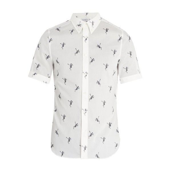 05271a64 Alexander McQueen Dancing Skeleton-print cotton shirt ($595) ❤ liked on  Polyvore featuring