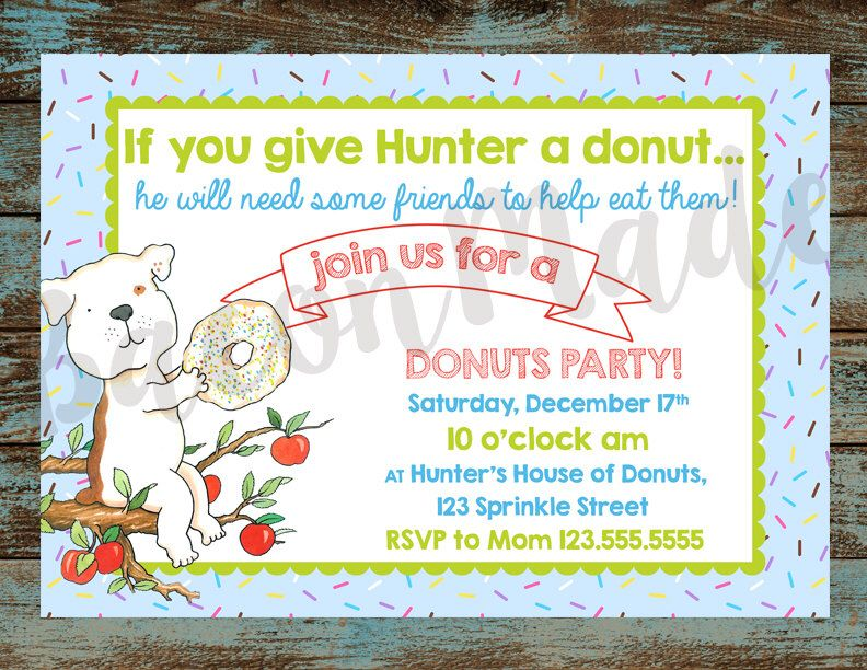 If You Give a Dog A Donut Birthday Party Invitation Digital File ...
