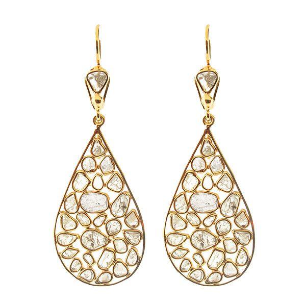 Large Diamond Slice Pear Shape Earrings ❤ liked on Polyvore