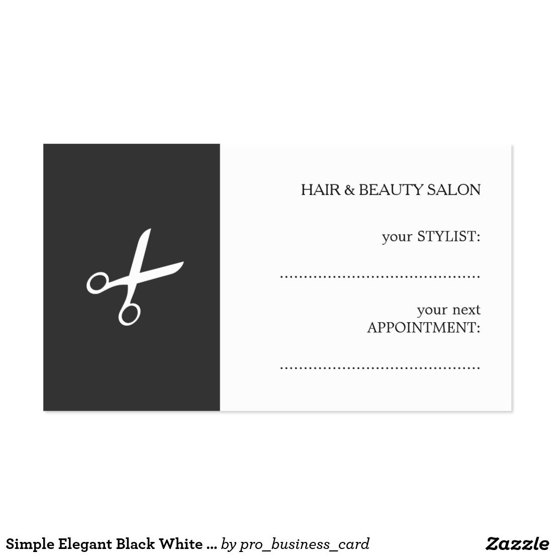 Simple Elegant Black White Beauty Appointment Card | Business cards