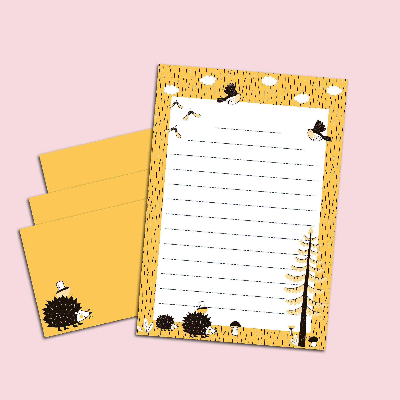 briefpapier set tiere gelb din a5 briefpapier kinder inkl