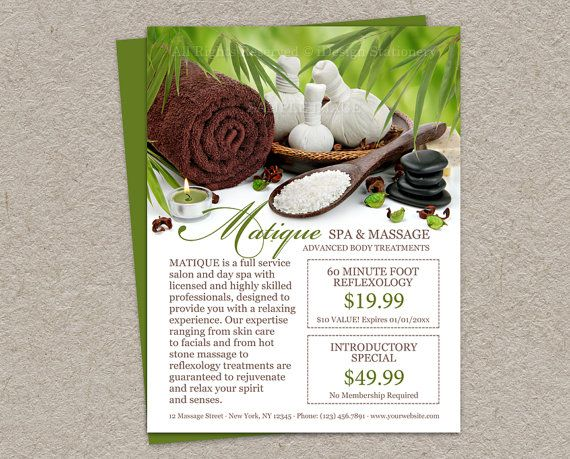 Salon And Spa Menu Of Services Template, DIY Printable Salon Flyer With  Prefilled Coupons, Spa And Massage Business Promotion