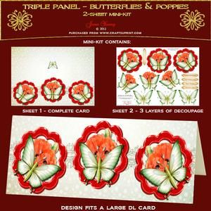 Tripple Panel - Butterfly On Poppies