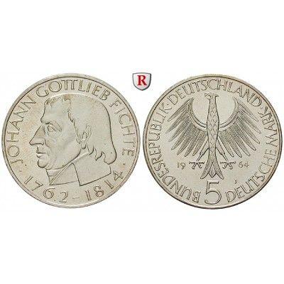 Bundesrepublik Deutschland, 5 DM 1964, Fichte, J, vz-st, J. 393: 5 DM 1964 J. Fichte. J. 393; vorzüglich-stempelfrisch 60,00€ #coins