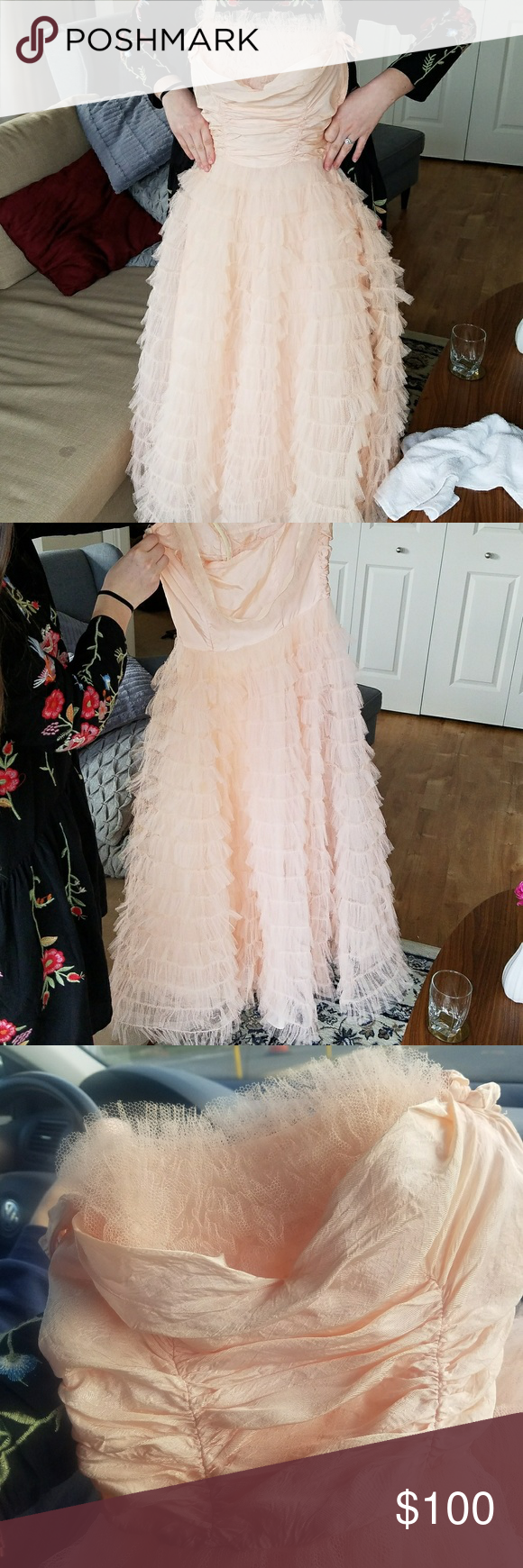 Us vintage baby pink prom dress or ball gown baby pink prom