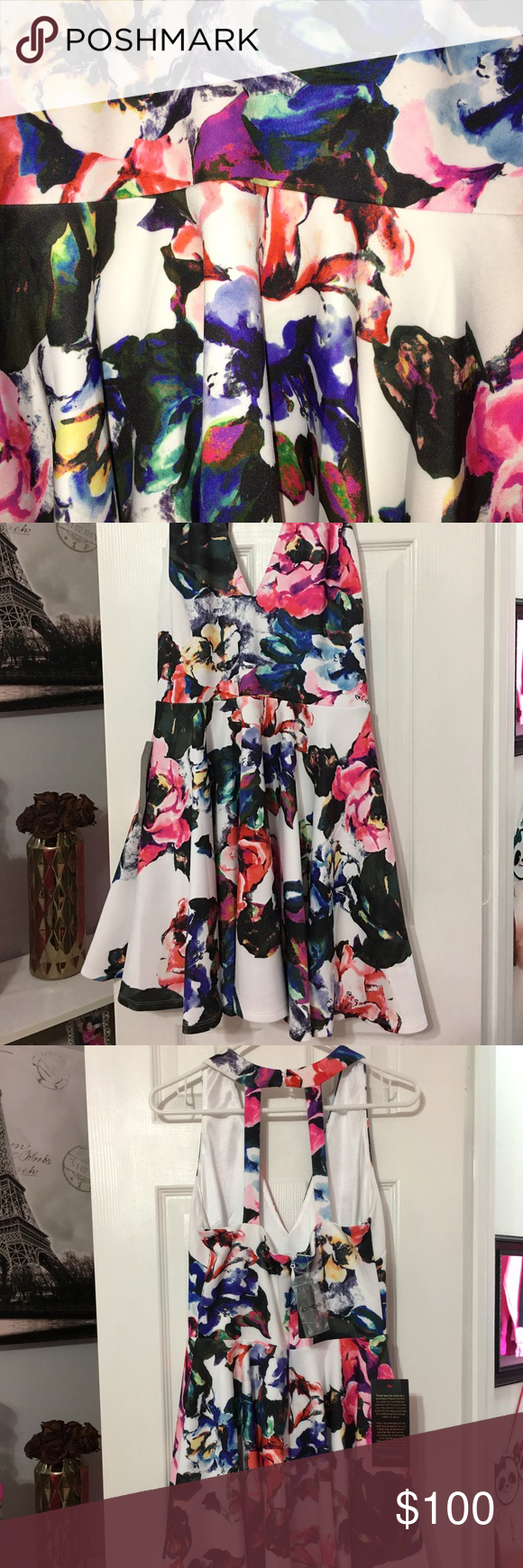 Beautiful floral Bebe dress 🌸🌺🌹🌷 Fit on the top part and flare 🌻 payed 129+ tax for this one 🎀 $70 thru 🅿️🅿️ bebe Dresses