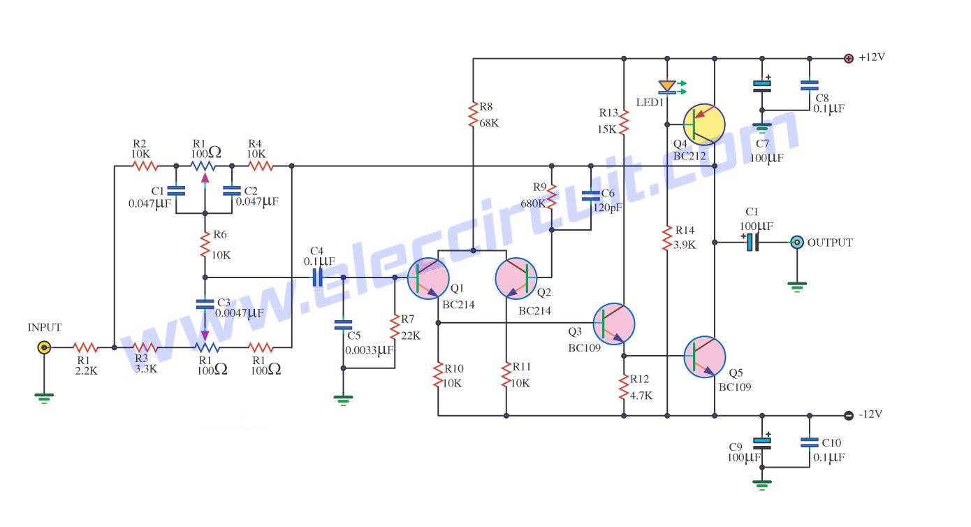 top 7 tone control circuit, low noise eleccircuit com af2 simple tone control circuit hi fi preamplifier