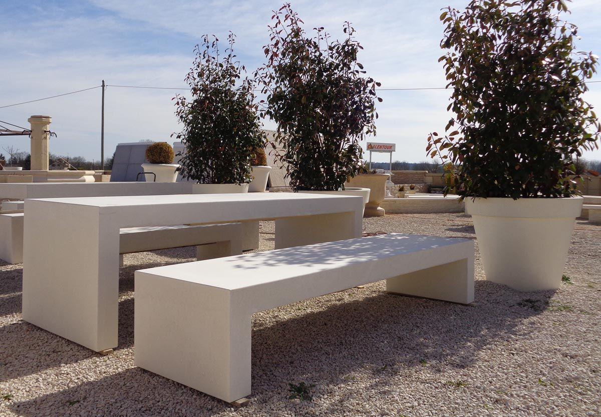 Table En U Beton Lisse Ou Pierre Reconstituee En 2020 Jardin En Beton Beton Prefabrique Beton Lisse