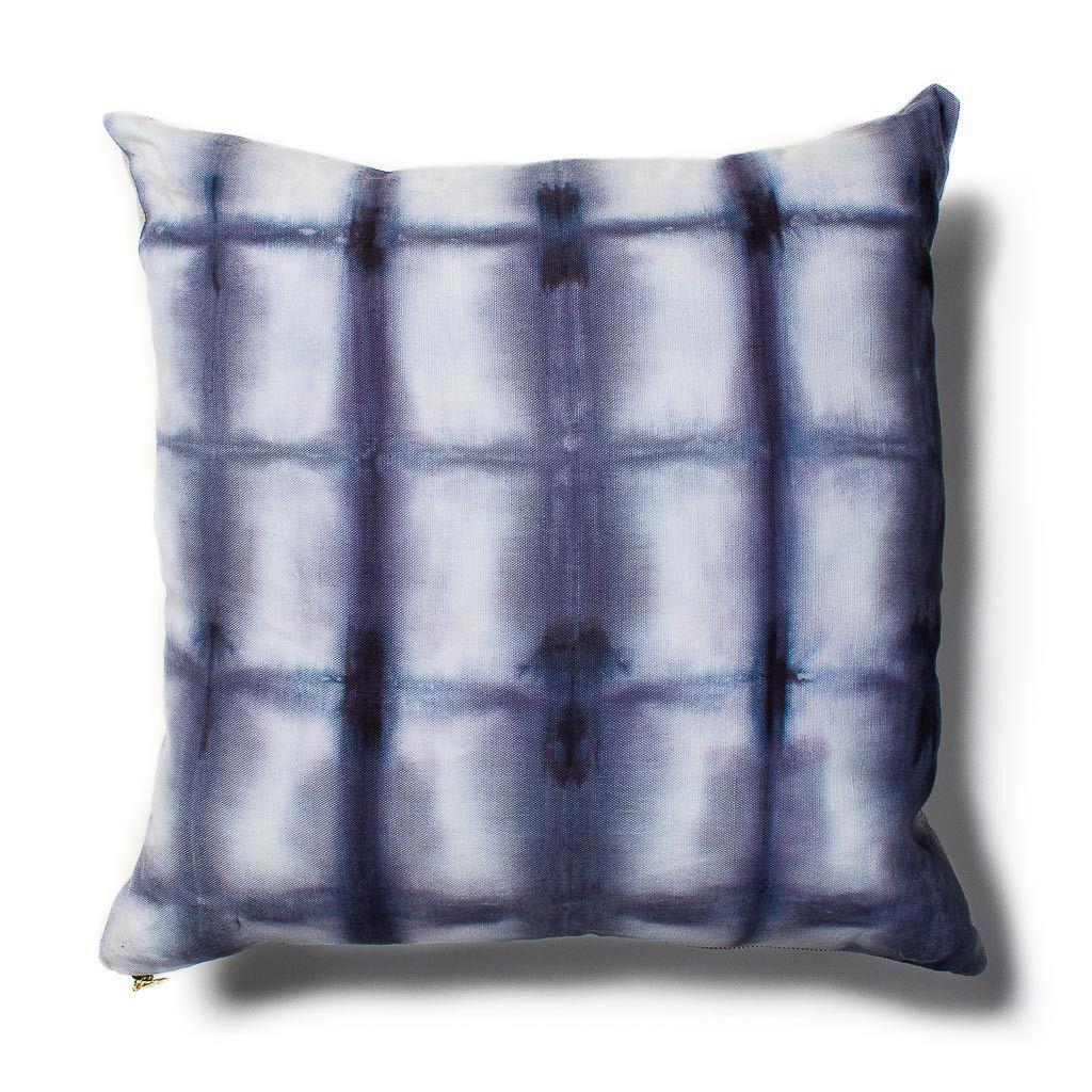 Grid Shibori Pillow in Navy