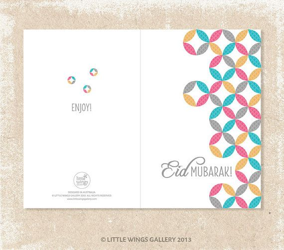 Digital Download POP PRINT Eid Mubarak Card by LittleWingsGallery
