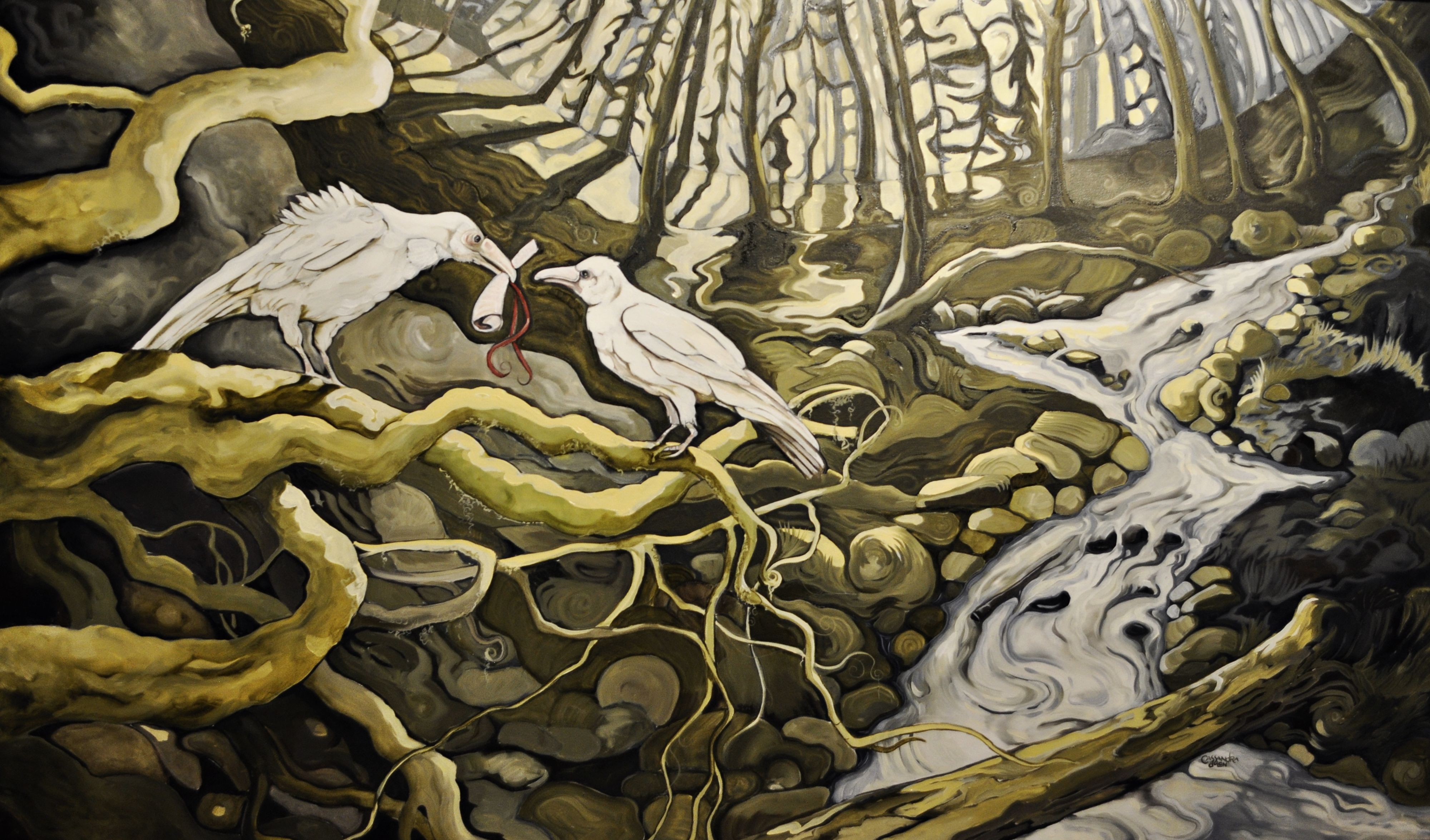 The Message         Cassandra Dolen       walnut oil   5' x 2.5'   White ravens of Qualicum, B.C  thanks to Mike Yip for the use of his photos of white ravens https://www.facebook.com/Cassandradolen.ca?ref=tn_tnmn #bcart #cassandradolen #canadianart #ravens