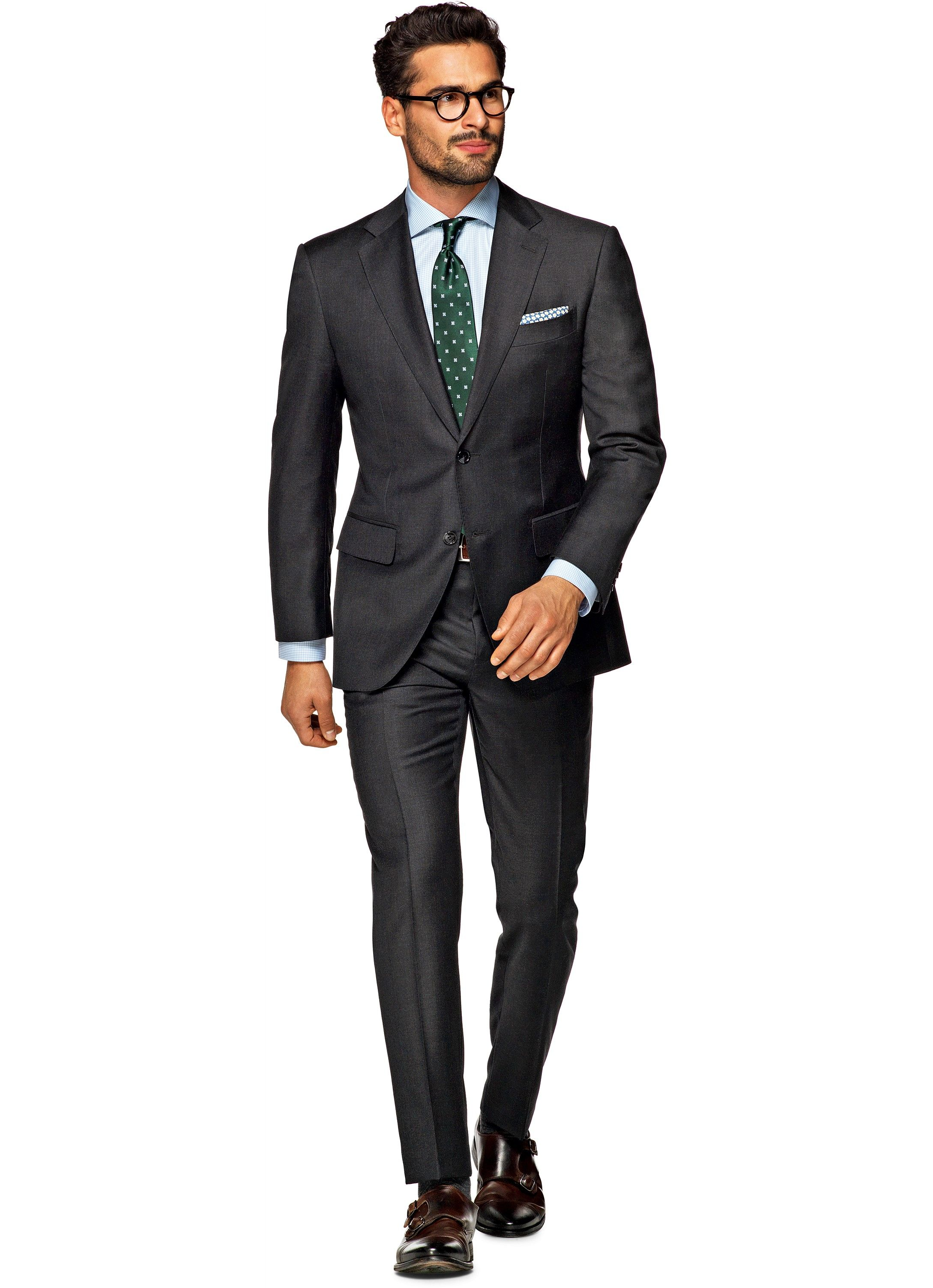 Suit dark grey plain napoli p2525i suitsupply online for Charcoal suit shirt tie combinations