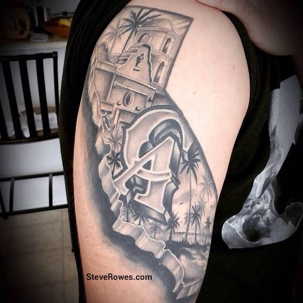 Grey California Tattoo On Right Half Sleeve