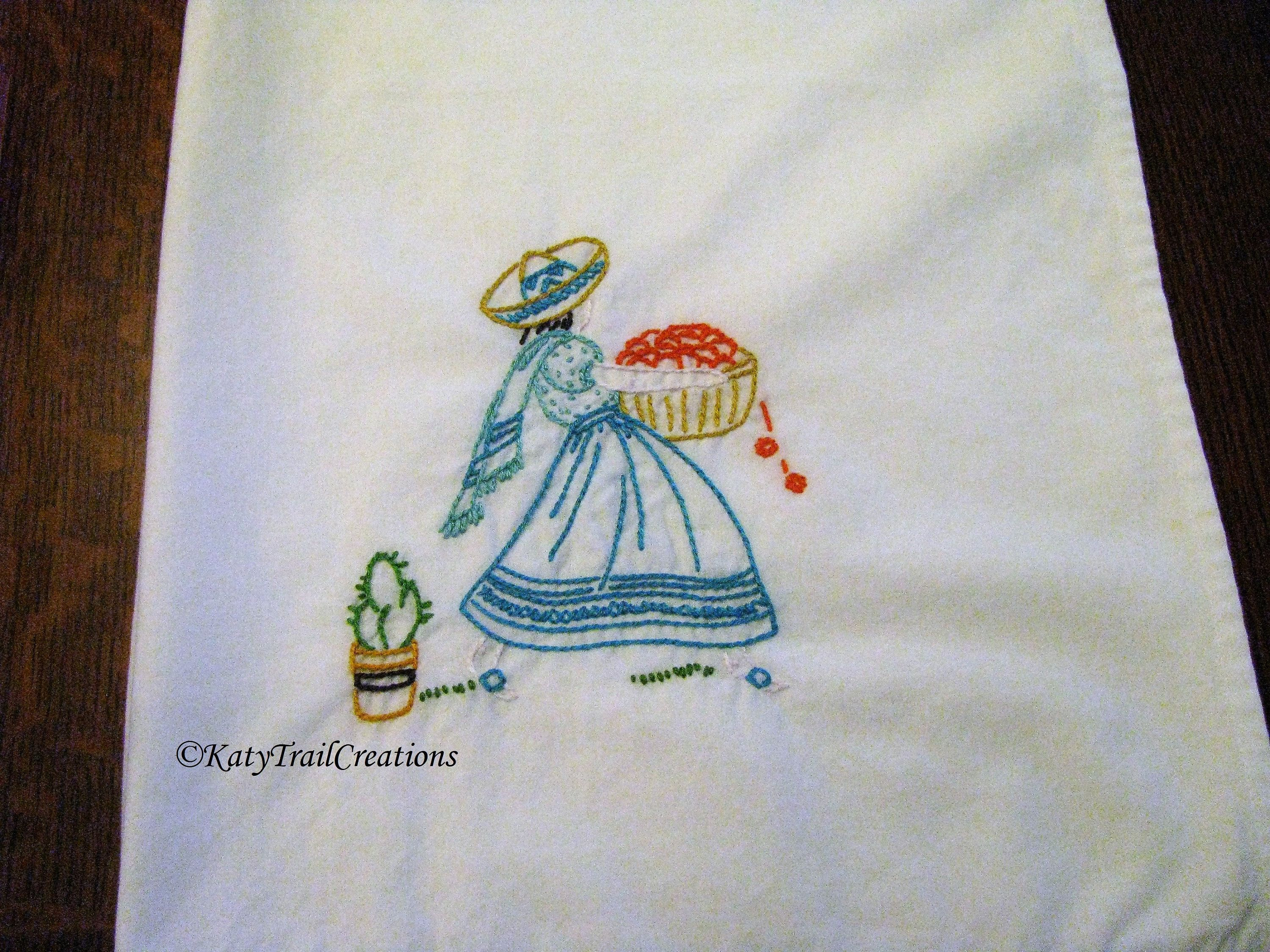 Hand Embroidered, Hand Cut and Hemmed Flour Sack Towel with Senorita ...