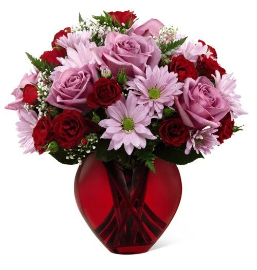 Valentines Day Flowers In A Red Heart Shaped Vase Floral