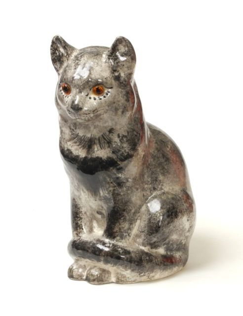 Black Cat Blue Eye Ceramic Figurine Miniature Handcraft Pet Animal Hand paint 2